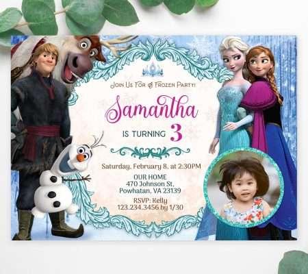 frozen birthday invitation with photo editable