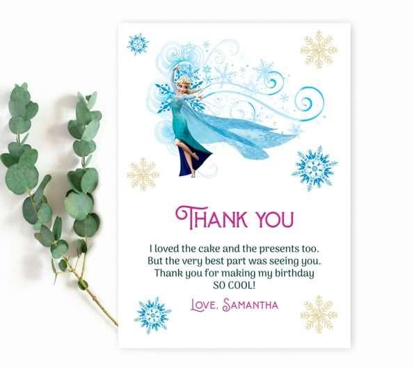 Frozen thank you card editable template
