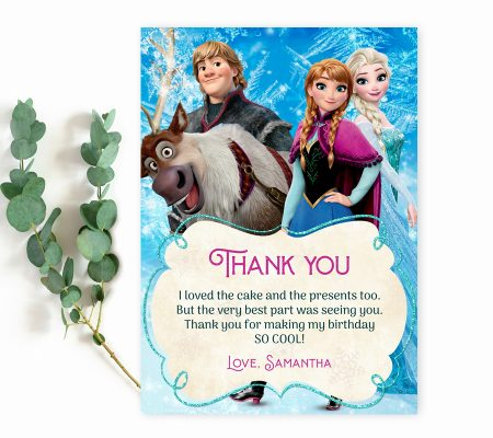 Frozen birthday thank you card template