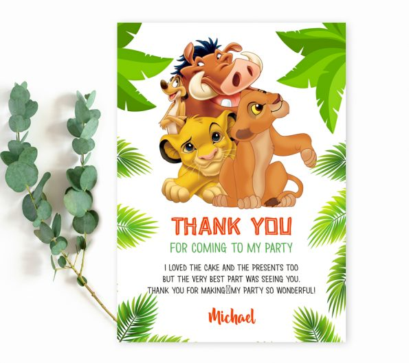 Lion King thank you card template