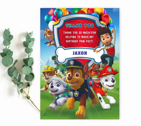 Paw Patrol thank you card editable template