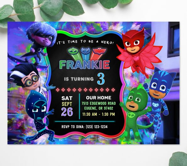 PJ Masks birthday invitation template