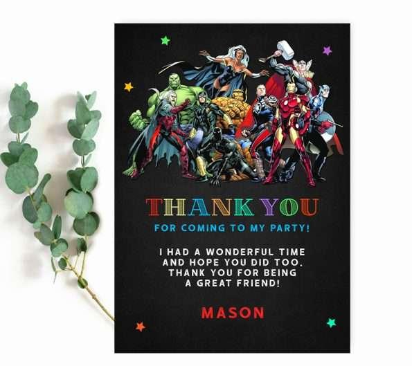 superhero Marvel thank you card editable template