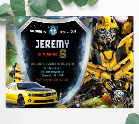 Transformers Bumblebee invitation template