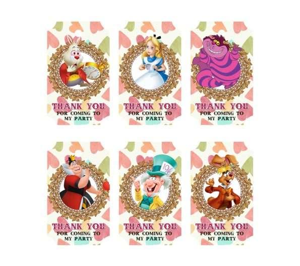Alice in Wonderland favor tags