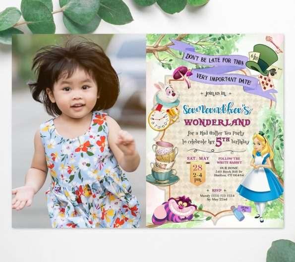 Alice in Wonderland invitation with photo