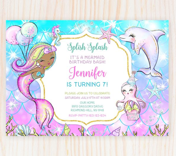 Black Mermaid Birthday Invitation Template