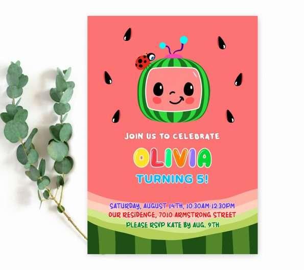cocomelon party invitation templates