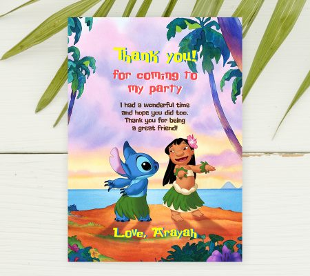 Lilo and Stitch editable thank you card