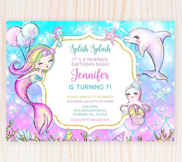 mermaid birthday invitation template