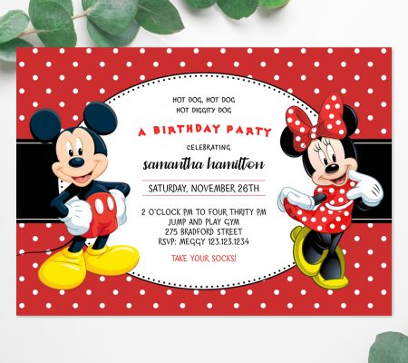 Mickey and Minnie mouse invitation edit online template