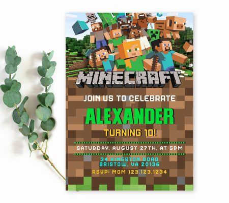 Minecraft birthday invitation template edit online