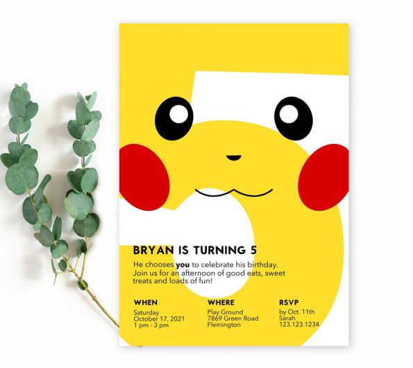 Pikachu 5th Birthday Invitation