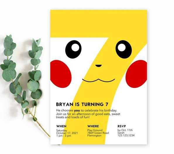 Pikachu 7th Birthday Invitation