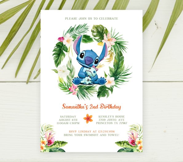 Stitch birthday party invitation template for girl