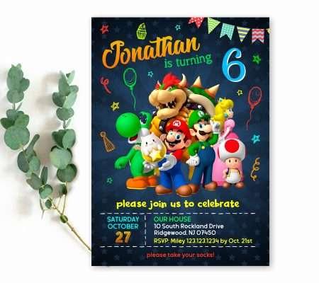 super Mario invitation template