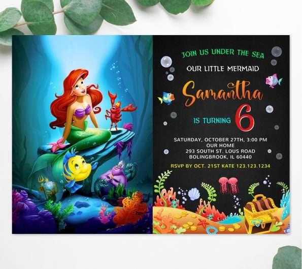Little Mermaid Ariel Invitation Template