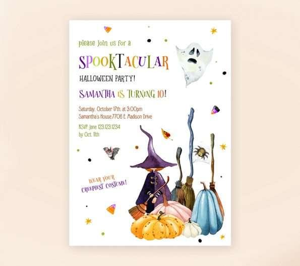 little witch birthday invitation