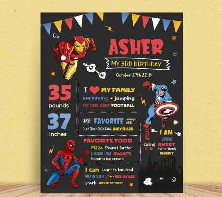 Superhero Birthday Poster